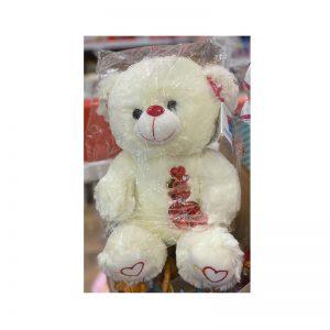 דובי בינוני לבן עם לבבות