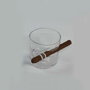 כוס וויסקי עגולה עם מחזיק סיגרים