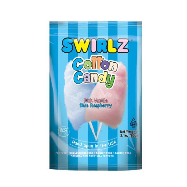 צמר גפן מתוק בטעם וניל ופטל כחול Swirlz