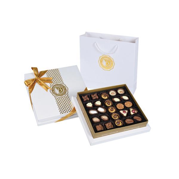 מארז יוקרתי פרלינים שוקולד בלגי משובח במגוון טעמים- במארז לבן