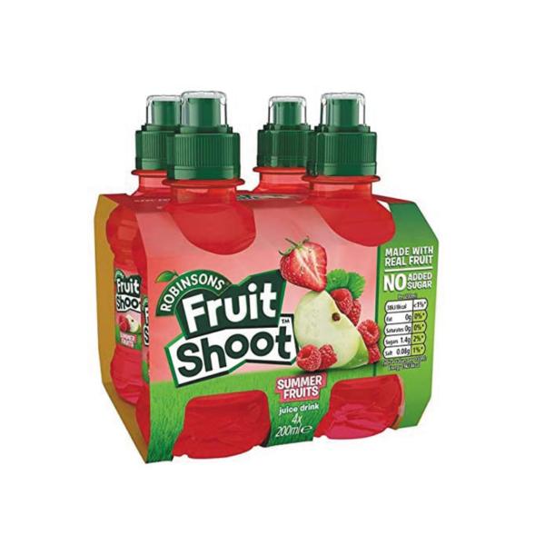 מארז 4 יחידות משקה בטעם תותים פטל ותפוחים Fruit Shoot